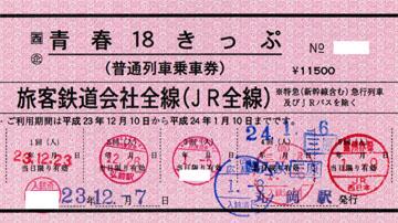 赤い青春18きっぷ
