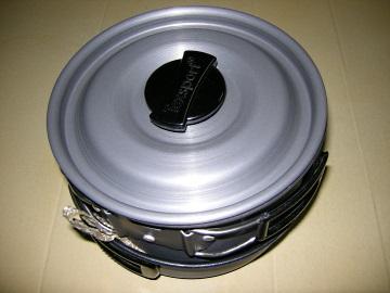 Texsport cook set に鍋敷きを敷いて収納